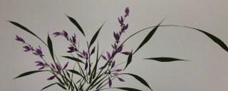 Japans inktschilderen wilde orchidee Beppe Mokuza