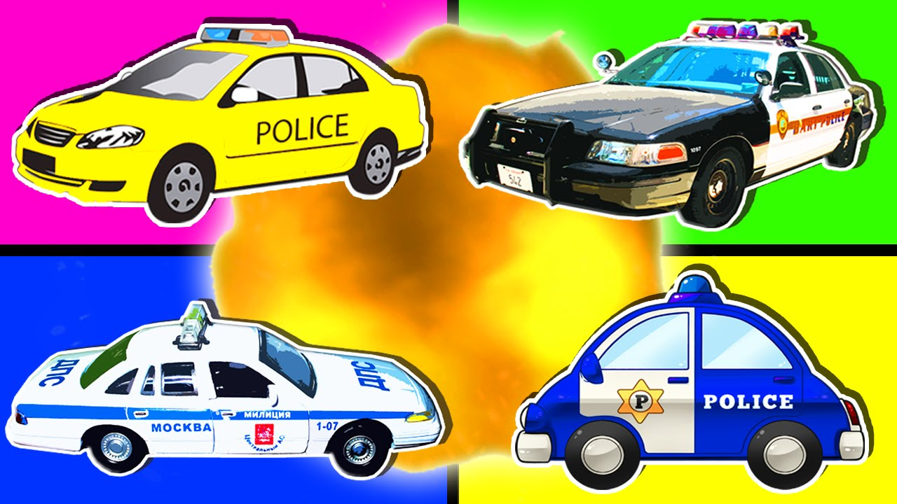 Police Cars For Kids Collection Learning Videos Nursery Rhymes Surprise Eggs Police Cars Place 4 Kids