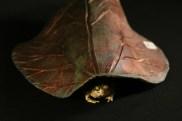 #069 Raku rhubarb leaf toad house, large - $40
