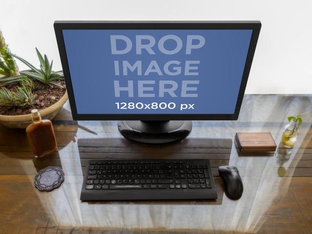 Placeit Desktop Pc Mockup On A Wooden Desk