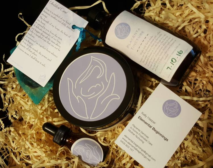 Placenta encapsulation package including capsules, cord keepsake and tincture. Elemental Beginnings Adelaide