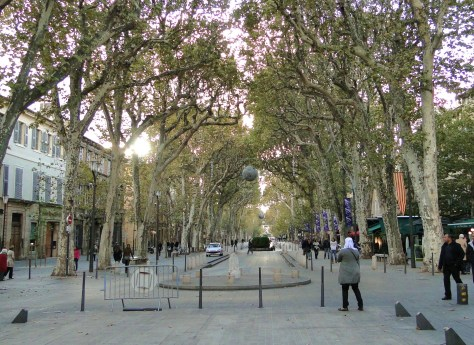 Cours Mirabeau in Aix-en-Provence. Da Vinci, a master of dimension, believed this street had the world's most perfect dimensions.