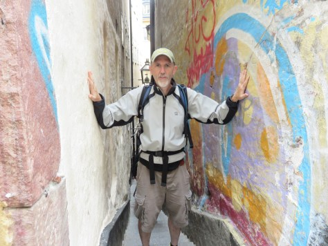 Yours truly in Stockholm's Mårten Trotzigs Gränd, Europe's most narrow alley