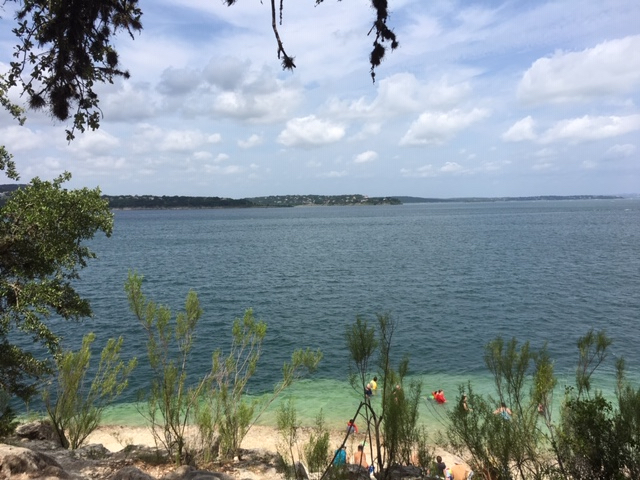 A rare view in Texas, from the beach of Scenic Overlook Park at Canyon Lake.