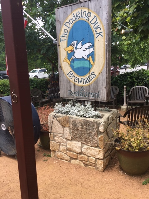 A fun name and a great dog friendly place to eat in Boerne, Texas.