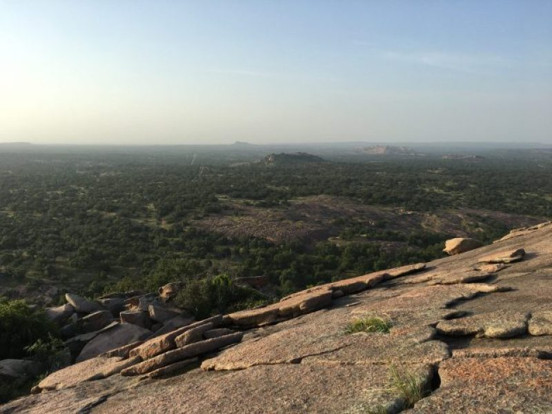 The back of Enchanted Rock is also steep