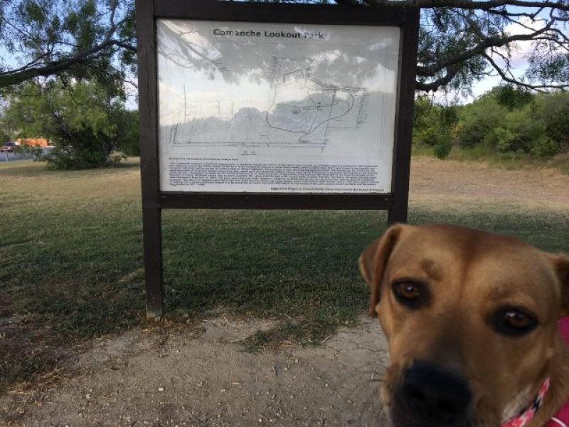 The board next to the southern parking lot at Comanche Lookout Park.