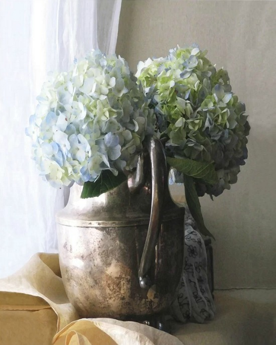 hydrangea in pitcher wall art