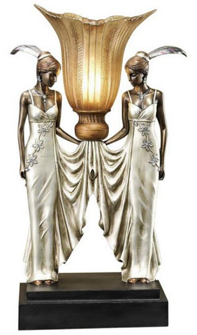 Art Deco Peacock Maidens Lamp