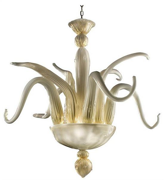 Simpatico Murano Glass Chandelier, Gold
