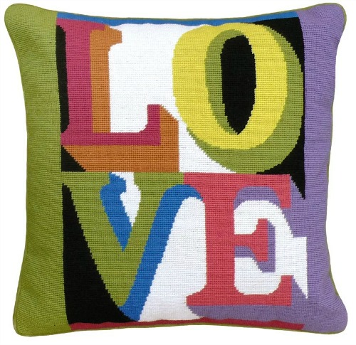 LOVE Needlepoint Wool Throw Pillow