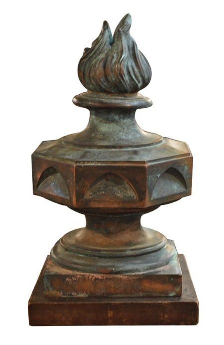 19th century french architectural flame finial in copper