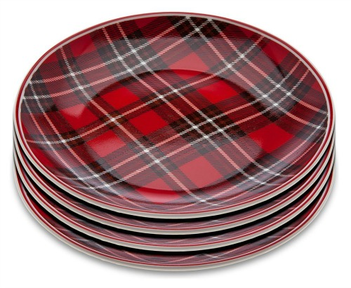 Holiday Gatherings Tartan Plaid Appetizer Plates Set of 4