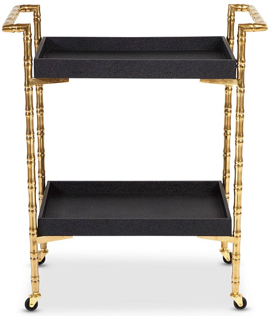 8 Oak Lane Black Bamboo Bar Cart