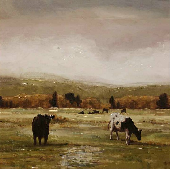 Cattle Graze I Hand Embellished Canvas Art Print