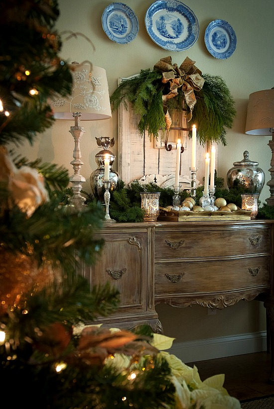 holiday decorated sideboard