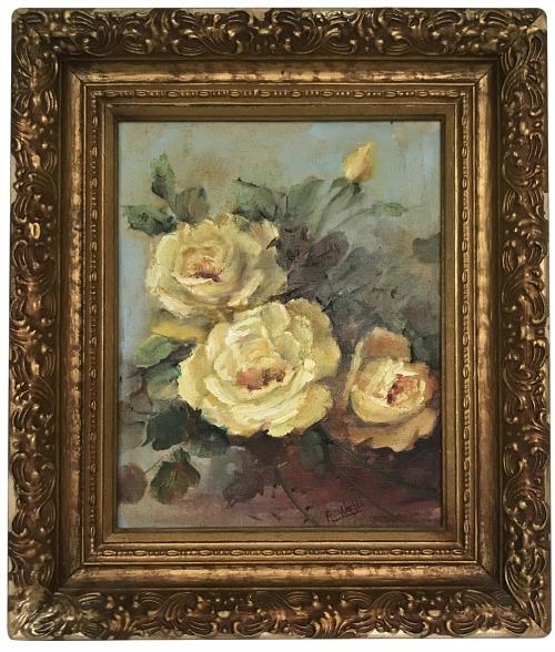 Framed Yellow Roses Still-Life Original Oil on Board