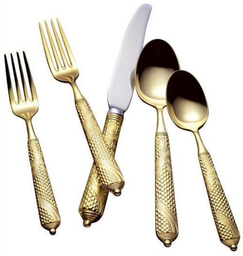 Byzantine+24+Karat+5+Piece+Flatware+Set