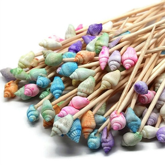 pastel dyed seashell toothpicks