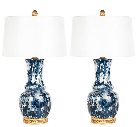 blue white brushstroke table lamp