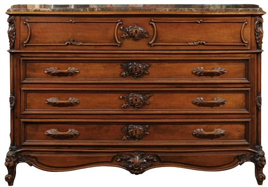 Late 19th C. French Louis XV Style Chest of Drawers with Drop Down Leather Desk