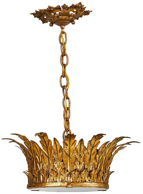 Vintage Spanish Gilt Metal Crown Light Fixture