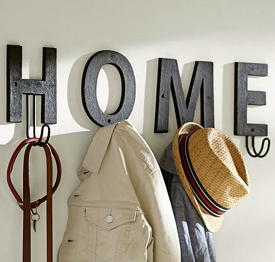 alphabet hooks spell out home