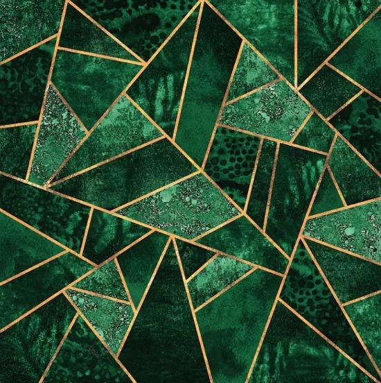 'Deep Emerald' Graphic Art Print on Canvas