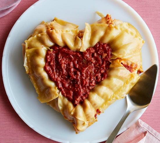 heart-shaped lasagna