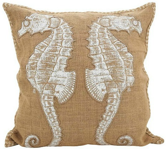 Seahorse Down Filled Throw Pillow