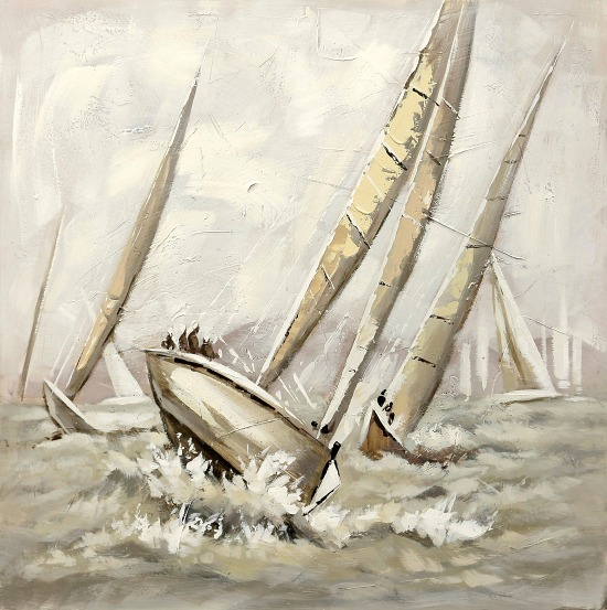 Nautical Windy Race 3-D Textured Canvas Art Print