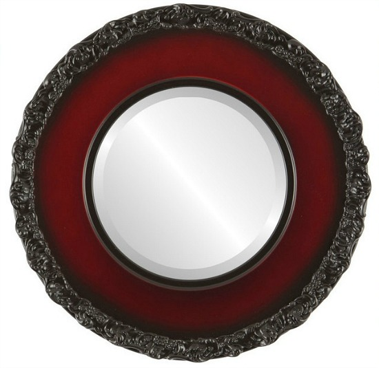 Williamsburg Framed Round Mirror in Rosewood