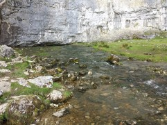 Malham Beck emerging from the bottom of Malham Cove