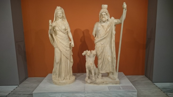 Persephone, Cerberus and Pluto statues from Gortys