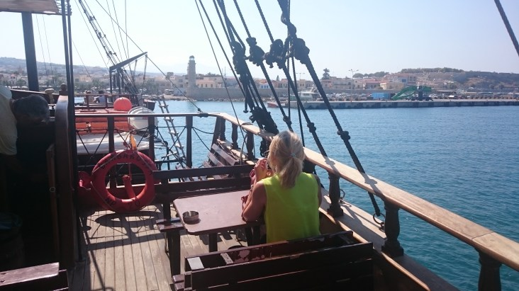 Returning to Rethymno's Inner Venetian Harbour onboard the Barbarossa