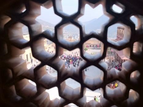 View through stone lattice window, Amber Fort