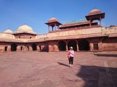 Azure glazed tiles on the roof of Jodha Bai's Palace, Fatehpur Sikri