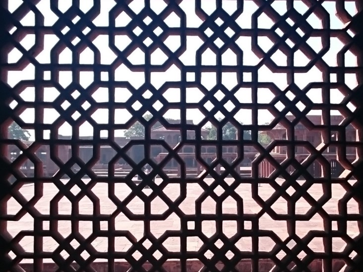 View of the Pachisi Court from inside the Diwan-i-Khas