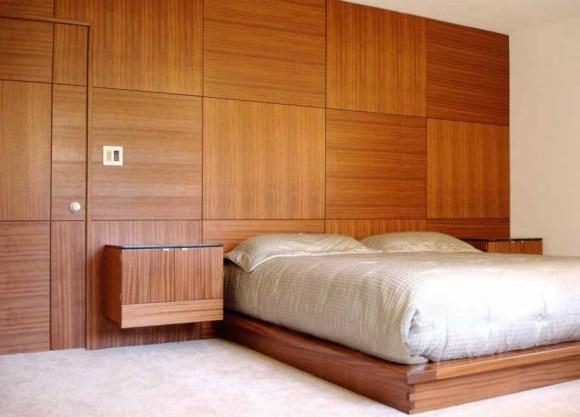 Panel dinding dengan motif kayu