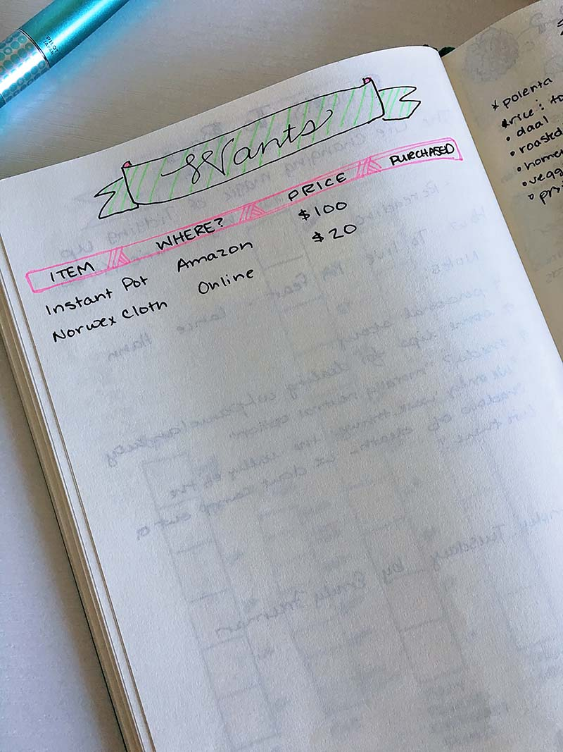 Financial Bullet Journal Page Ideas