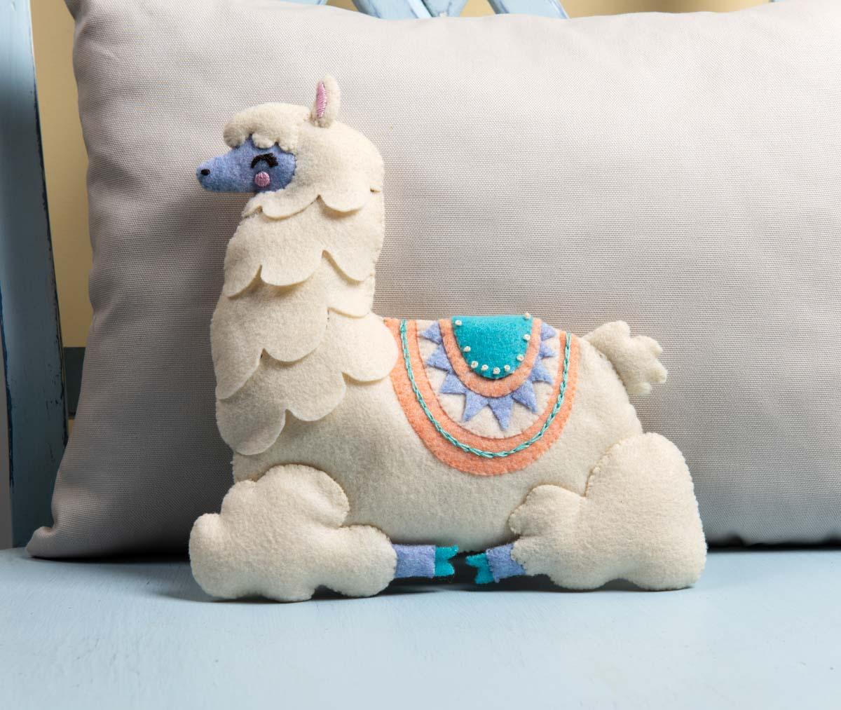 bucilla baby felt crib ensembles llama baby pillow 47889e