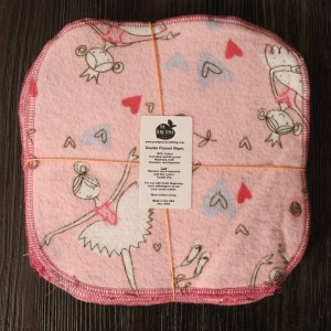 Pink square fabric with ballerinas and hearts