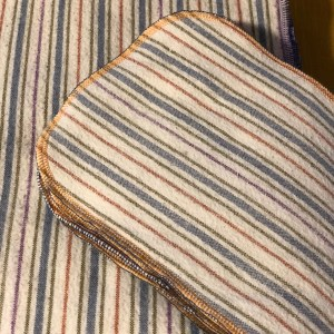 A Stack of striped fabric rectangles