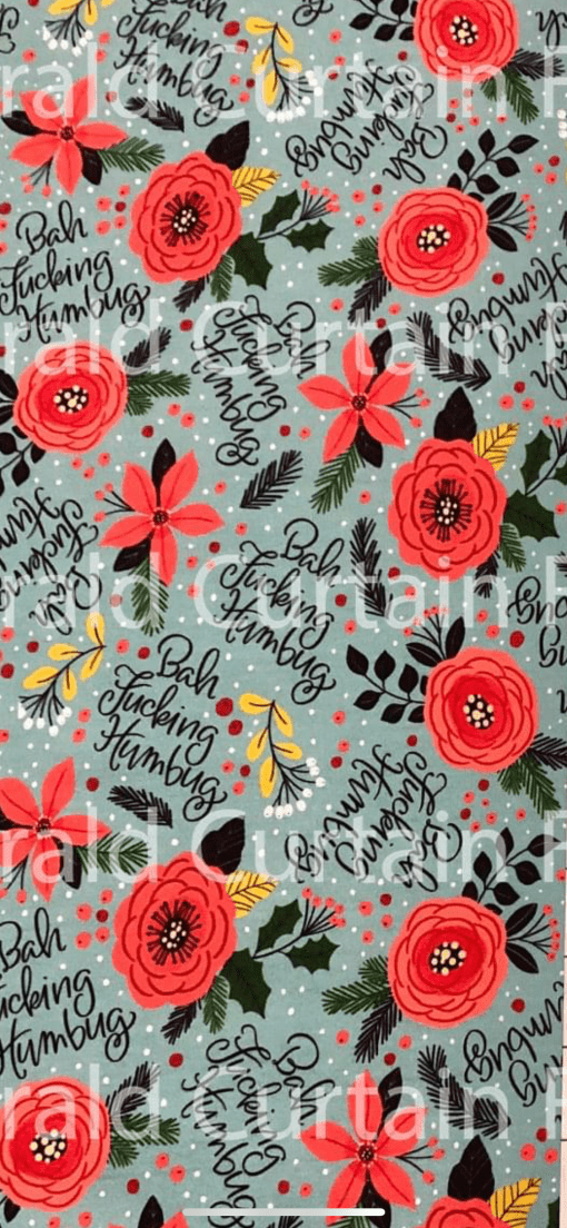 """A festive curseword print: a floral with the text """"Bah Fucking Humbug"""""""