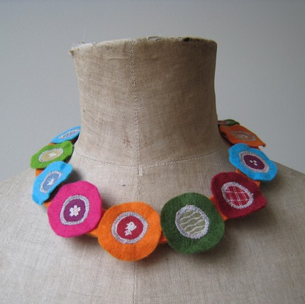Textile jewelry - colourful felt and fabric artistic necklace