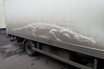 Nikita Golubev street art dirty cars