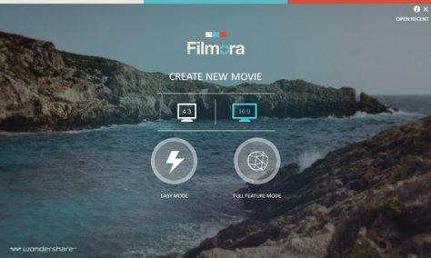 Filmora Startup - choose video dimension and software mode