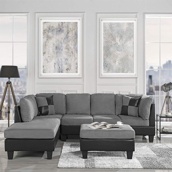 Amazon 3 Piece Reversible Microfiber Leather Sectional with Ottoman