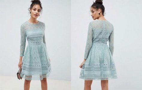 Asos Premium Lace Mini Skater Dress