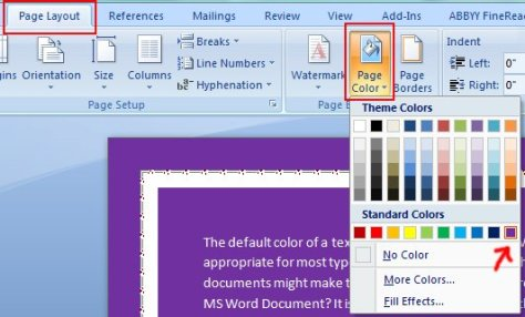 Change The Color of The Background of A Page in Microsoft Word 2007